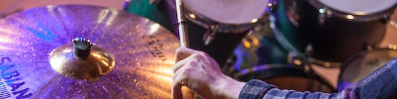Student at Cardiff University School of Music Playing Drums