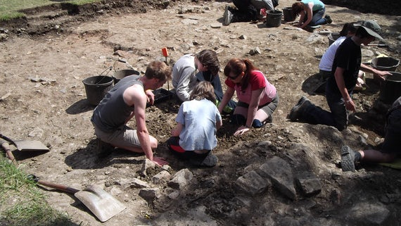 Students excavating