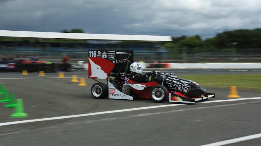 Cardiff Racing Car on track