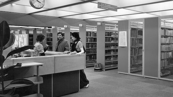 Interior shot of ASS Library from the 1970s
