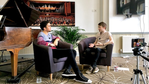 Adam Wynter, double bass player in the Philharmonic Orchestra, with journalist Jamie Wareham
