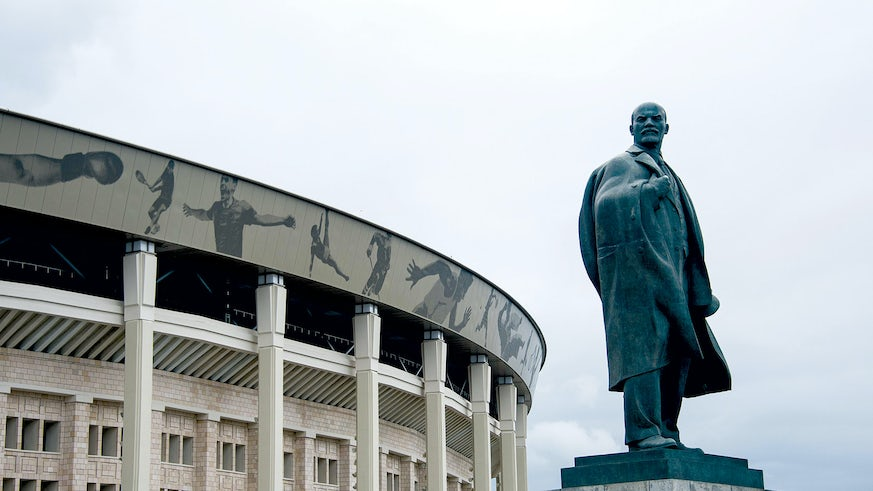 Statue of Lenin outside the Luzhniki Olympic Stadium, Moscow.  Statue of Lenin outside the Luzhniki Olympic Stadium, Moscow.