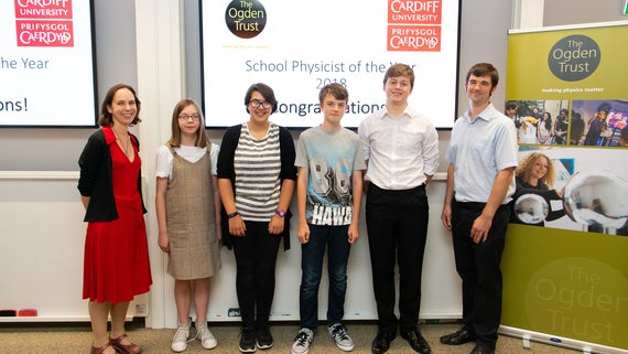 Winners of the Young Physicists of the Year receiving their awards