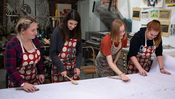 Students working in studio