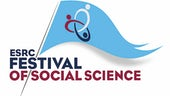 The blue flag logo of the ESRC Festival of Social Science logo