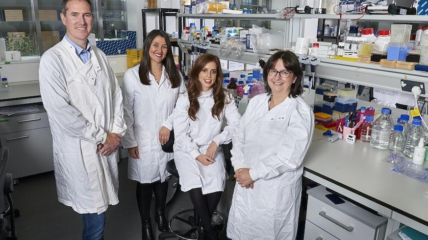 Dr Toby Phesse in his lab with Chloe Austin, Sarah Koushyar and Valarie Meniel