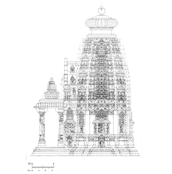 An architectural drawing of the side view of the Temple of Ashapuri