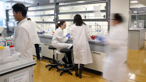 Scientists working in a busy MDI lab