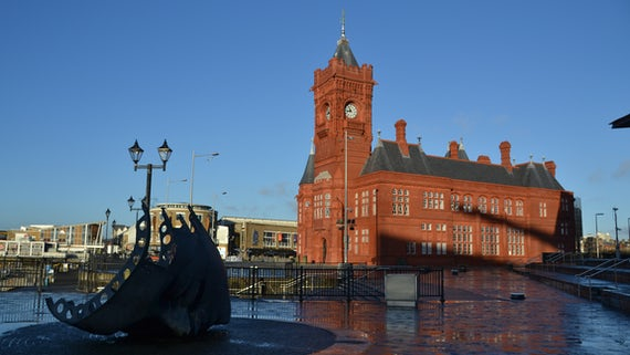The red bricked Pierhead Building in Cardiff Bay on a sunny day.