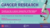 Event poster for the Cancer Researcher of the Future event