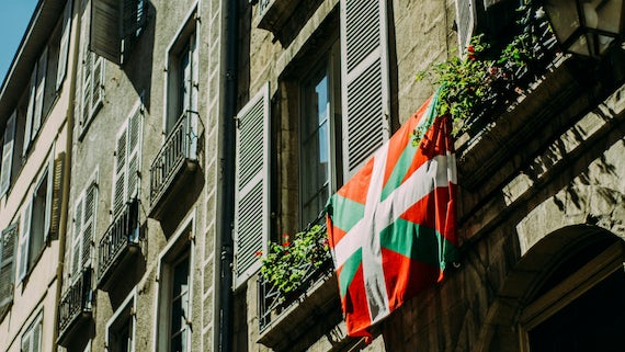 Flag on old building