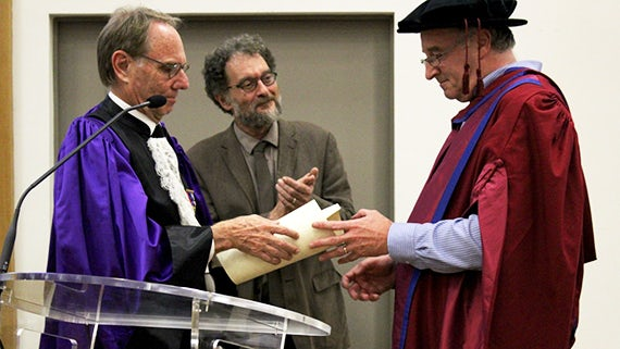 Professor Matt Griffin receiving the degree of Docteur Honoris Causa in Marseille