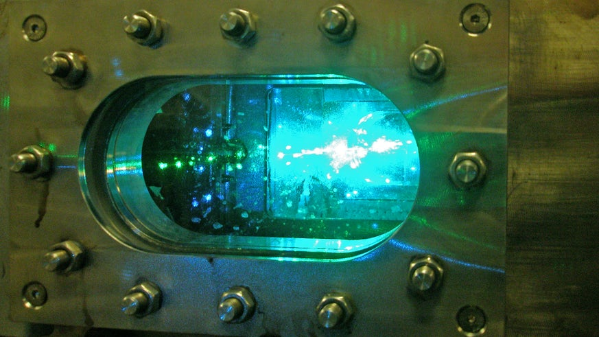 An image of the flame inside gas turbine.