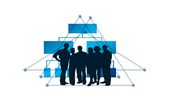 3 men, 3 women in black profile in front of blue triangle style diagrams