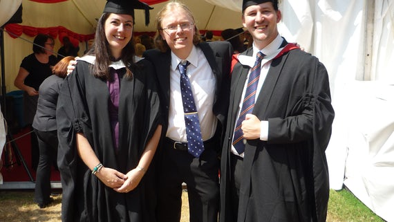 Liz Davies (BA Archaeology and Ancient History), with Paul Webster (pathway co-ordinator) and Jack Tenniswood (BA History)
