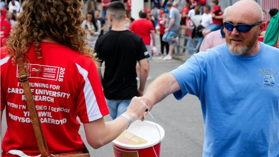 A TeamCardiff donation outside the Principality Stadium