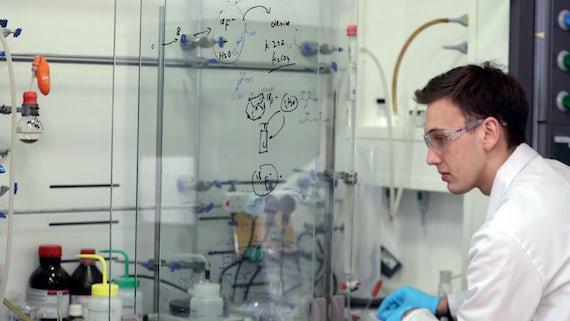 Postgraduate student working in a lab