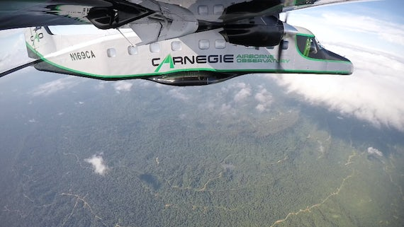 Airbourne Lab flying over Bornean jungle
