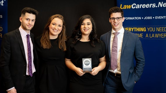 Cardiff Law Society represented by Tom Eastment (Careers Liaison), Annalie Greasby (Secretary), Bella Gropper (President) and Joe Del Principe (Treasurer)