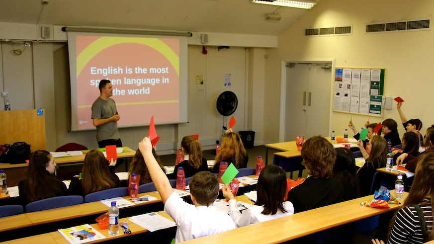 Enthusiastic students participate at the language study day