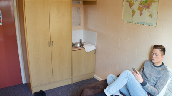 A bedroom in Nevern at University Hall