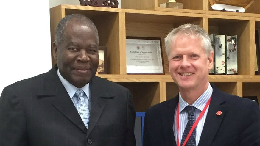 Professor Colin Riordan with VC of University of Namibia