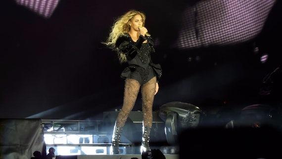 Beyonce performing onstage