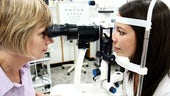 Member of the public having their eyes tested at the Eye Clinic