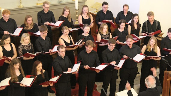 Members of Cardiff University Chamber Choir performing