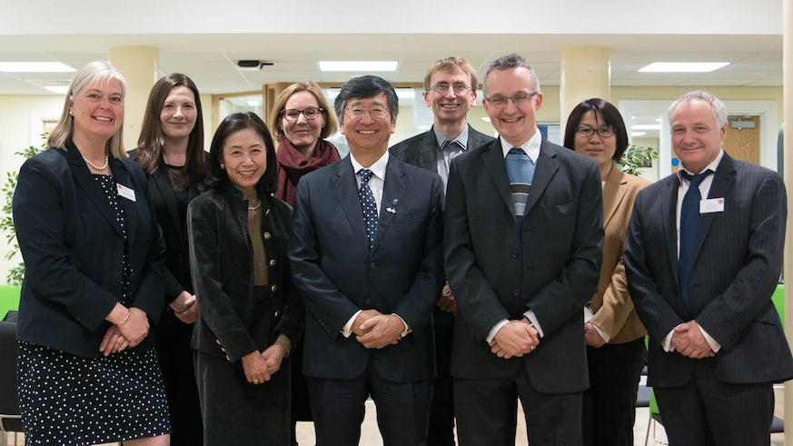 His Excellency HE Mr Koji Tsuruoka, guests and welcome party at the School of Modern Languages