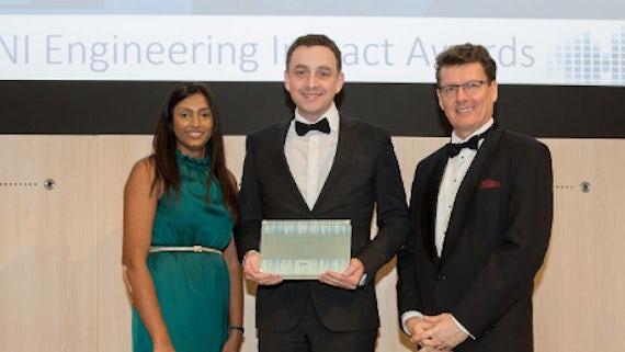 Richard Lewis receiving his award
