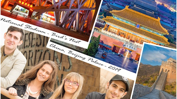 Four Cardiff University students with images of iconic Chinese locations.