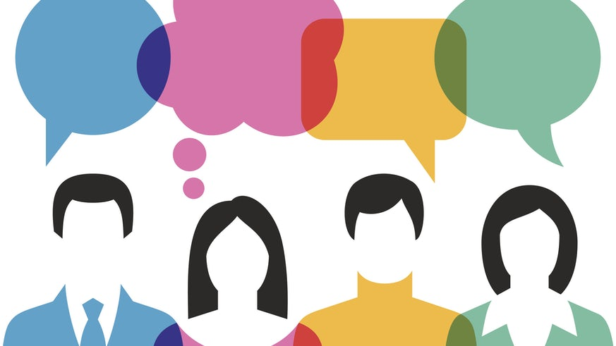 Illustration of People conversing with speech bubbles