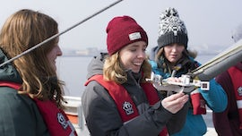 A first year fieldtrip on board our research vessel, the Guiding Light.