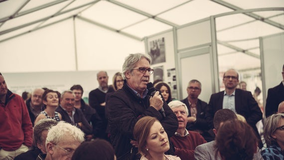 Crowd member asks question at 2015 Eisteddfod