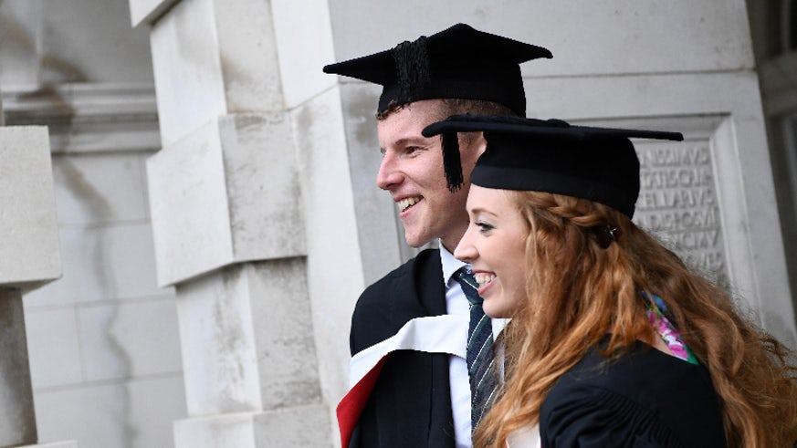 School of Modern Language graduates enjoy their post graduation reception this July