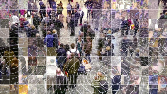 Crowd of people overlayed with radiowave grid