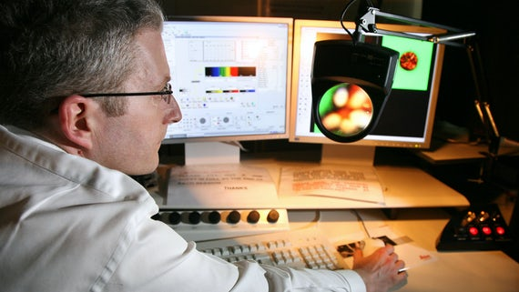 Dr. Sam Evans examining images from a confocal microscope