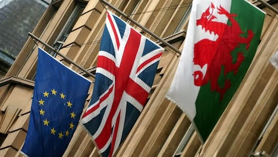 EU, UK and Wales flags