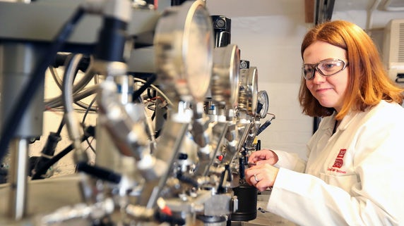 Female researcher working in technical lab