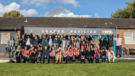 People from Grangetown and Cardiff University outside Grange Pavilion.