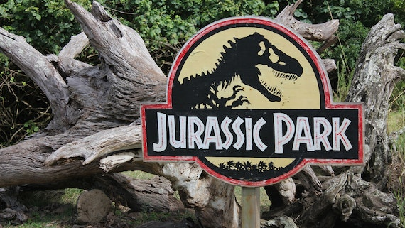 Jurassic Park sign from the Spielberg film of the same name