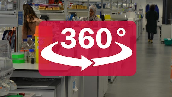 An image of the laboratory with a 360 degree logo overlaid
