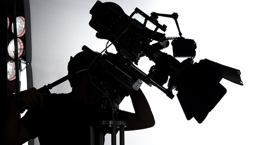 A Silhouette of a TV Camera