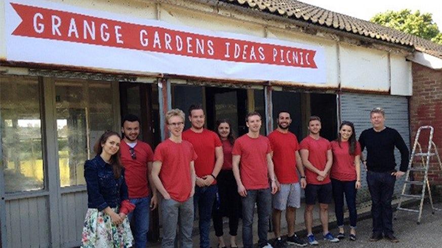 The team outside Grangetown Pavillion