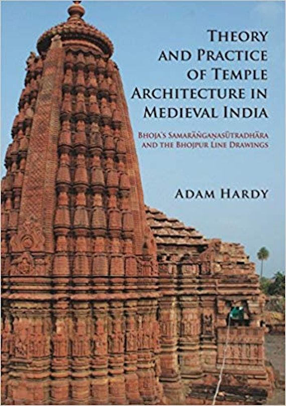 A book cover showing a large red stone temple