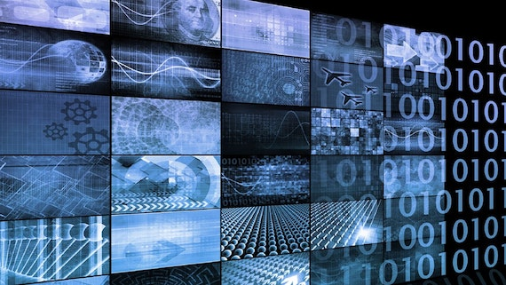 Bank of blue and black screens with images related to data innovation