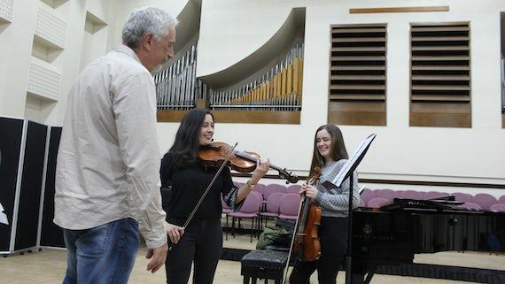 Professor De Biaggi with Gina Bertorelli and Angharad Croot