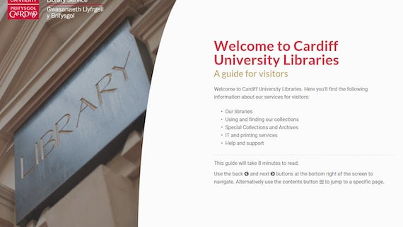 Image of the opening page of the Welcome to the library: a guide for visitors tutorial