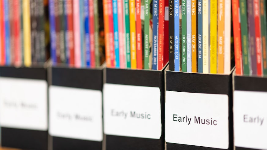 Row of scores in Music Library